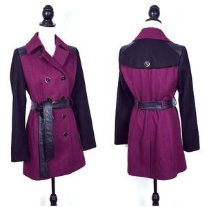 Black Rivet Raspberry Purple Wool Trench Coat
